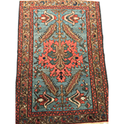 "SALE Antique Persian Malayer Oriental Rug 2'5"" X 3'7"" lt. Blue, Coral, Camel, Hand k"