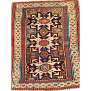 "SALE Antique CAUCASIAN Oriental Rug ca. 1880 2'7"" x 3'2"" Exquisite Design-Free appra"