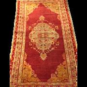 "SALE Beautiful Turkish Oushak Oriental Rug 3'4"" x 5'6"" Tomato Red, Celadon Green ..."