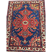 "SALE Antique Persian Malayer Oriental Rug, 2'5"" x 3'2"", Blue with Coral/Red-Free app"
