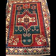 """SALE Beautiful Caucasian KAZAK ORIENTAL RUG 4' x 5'2"""", Vegetable Dyes, Wool on Wool ..."""
