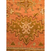 SALE ca. 1900 OUSHAK Oriental Rug Beautiful APRICOT/Salmon with light GREEN border 10'5 ...