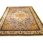 "SALE Persian Tabatabai Hunting Design Tabriz Oriental Rug  6'6""x10' light blue/cream"