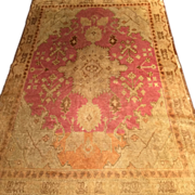 "SALE Beautiful Antique Oushak Oriental Rug, handmade in Turkey, ca. 1890,4'x 5'10"", Beaut"