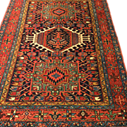 "SALE Beautiful Antique HERIZ N.W. Persian Oriental Rug, handmade, Vegetable Dyes, 4'9"" x"
