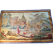SALE 18th c. FRENCH AUBUSSON Tapestry Wall Hanging  Boat on the River scene, 2'6 ...