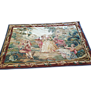 SALE Antique 19th c. Pictorial FRENCH AUBUSSON Tapestry Art Wall Hanging Whimsical  Scene in t
