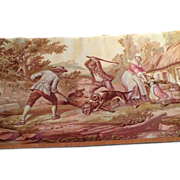 "SALE Antique  FRENCH AUBUSSON Tapestry Art Country Scene with Dogs 19th c. 2'x 3'9""- fine"