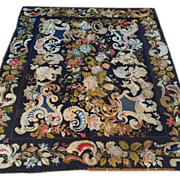 SALE 18th c. ENGLISH NEEDLEPOINT Rug/Tapestry-Black Field-beautiful colors, Dramatic yet ...