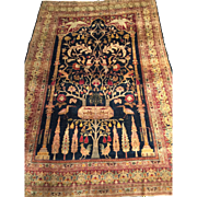 SALE Rare & Unusual  Antique SILK PERSIAN HERIZ Oriental Rug Tree of Life, Silk Pile & Silk Fo