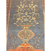 SALE RARE BLUE & Coral -Fine SAROUGH TREE OF LIFE Persian Oriental Rug or Wall Hanging ...