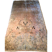SOLD Antique OUSHAK Oriental Rug-Beautiful Pale Soft  Pink/Rose with soft Charcoal and Cream D