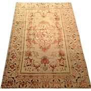 "SALE Antique  Persian ISPHAHAN Oriental Rug 4'10"" x 7'2"" Cream Field Handmade of pur"