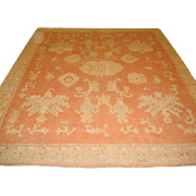 "SALE Fabulous Antique OUSHAK Oriental Rug, Coral, Cream & Green 8'2"" X 9'6"", hand .."