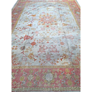 SALE WOW! ca. 1890 OUSHAK Oriental RUG,  Turkey, Soft Colors of Cream, Orange & Pink Border ..