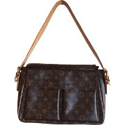 SOLD LOUIS VUITTON Monogram Signature Canvas Large size Purse with cowhide leather trim & loop
