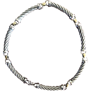 SALE Fabulous Metro Sterling Silver Cable Necklace-5mm wide- 18 Karat Yellow Gold separators-1