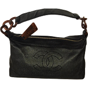 SOLD Beautiful  CC CHANEL Black Leather handbag with CC on front- Leather with Tortoise Rings