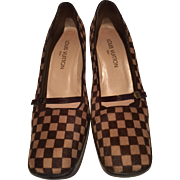 SALE STUNNING! Classic Brown LOUIS VUITTON Damier Sauvage  Pony Hair Shoes, Size 39 1/2,  Made