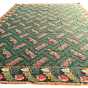 SOLD Antique English Needlepoint Rug, Hand Made of Wool. Overall design with beautiful complim