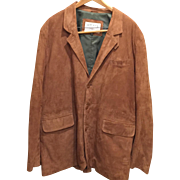 SALE ORVIS SPORTING TRADITIONS- Camel GENUINE LEATHER SUEDE JACKET, Men's-size 48 long, fully