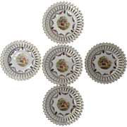 "SALE Beautiful set of 11 Dresden style reticulated porcelain 6 1/2"" plates marked Germany"