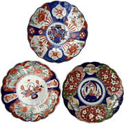 Collection of 3 Antique Beautifully Painted  Japanese IMARI Porcelain Chargers/Plates 8 1/2""