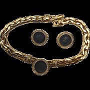SALE Beautifully Stunning Costume Jewelry-Aged Coin, Diamond like Bezel  Choker Necklace and .