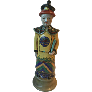 "Ceramic Chinese Imperial Figure wearing tradition clothes in nice colors-Tall 16"" Free Sh"