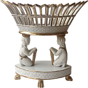 SALE Beautiful White Porcelain Figural Tazza or Fruit Compote Centerpiece with Gold accents, .