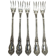 SALE 5 Cocktail Seafood Forks in Tiger Lilly Silver Plate, 1901, by Reed and Barton ...