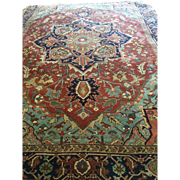 SALE Beautiful Persian SERAPI Oriental Rug, ca. 1920, with hard to find sky blue and ...