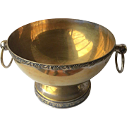 SALE Beautiful Large heavy  Brass Bowl on Silver with Ring Handles on both sides, Silver ...