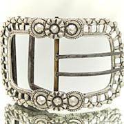 European Silver Lady's Belt Buckle Pierced Frame
