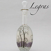 """Antique French Enameled Glass Wine Carafe Decanter by Legras """"Winter"""""""
