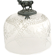 Antique French Etched Crystal & Silver Plated Figural Cheese Case Bell Cloche Jar