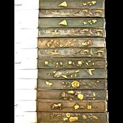 SOLD Antique French Gold Gilt Bronze Knife Set in Japanese Kozuka Style 12pc w/Box