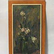 Adolf Adi ADLER Oil on Canvas Still Life Flower Rose in Vase Framed