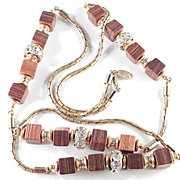 Vintage Miriam Haskell Wood Grained Cube & Rhinestone Rondelle Necklace