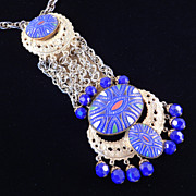 Alice Caviness Early Kenneth Lane K.J.L Large Mosaic Tile Cab Pendant Necklace