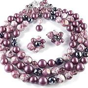 Robert DeMarioThree Row Glass Bead Necklace Earrings Demi Parure Set
