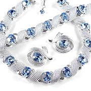 Corocraft Coro Rhinestone Necklace Bracelet Earrings Parure Set