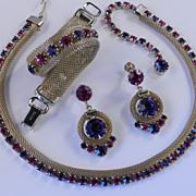Weiss Rhinestone Mesh Necklace Bracelet Dangle Earrings Parure Set