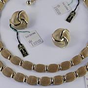 Trifari Golden Mail Mesh Necklace Bracelet Earrings Parure Set  Pristine w/ Tags