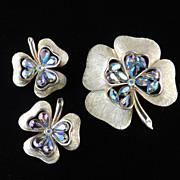 Vintage Hope Chest Rhinestone Brooch Pin Earrings Demi Parure Set