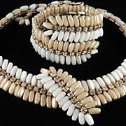 Vintage Hand Wired Rhinestone Glass Bead Necklace Wrap Bracelet Demi Parure Set
