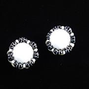 Hobe Milk Glass Cabochon Black Squash Bead Earrings