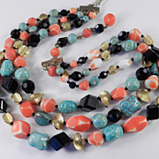 Hattie Carnegie 3 Row Glass Bead Necklace