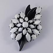 Weiss Milk Art Glass Rhinestone Japanned Enamel Brooch Pin