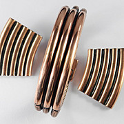 Yves Saint Laurent Copper Rib Cobra Chain Bracelet Earrings Demi Parure Set